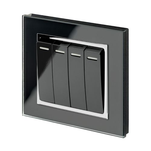 RetroTouch 4 Gang 1 Way 10A Pulse/Retractive Light Switch Black Glass CT 00257